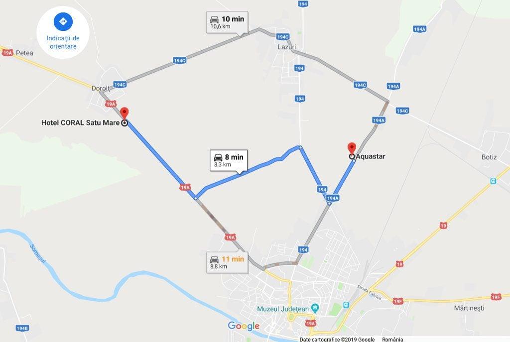 Rute auto / distante rutiere intre Aquastar si Hotel Coral Satu Mare